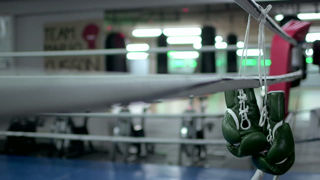boxing gloves hanging on boxing ring - boxhandschuh stock-videos und b-roll-filmmaterial