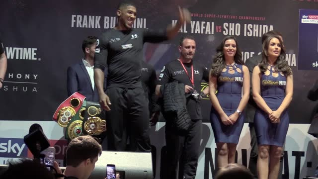 boxing heavyweight champion anthony joshua weighs in at 18 stone 2 pounds his heaviest ever he is set to fight carlos takam at the principality... - boxing heavyweight stock videos & royalty-free footage