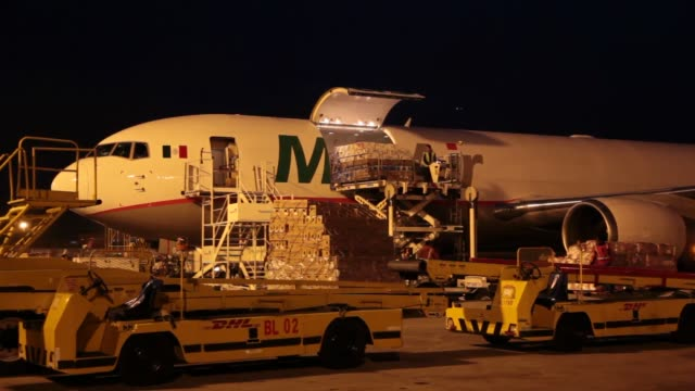 Boxs of cargo filled with flower arrangements loaded onto plane / airport employees prepare cargo shipments Cargo Shipment Loaded on Plane on...