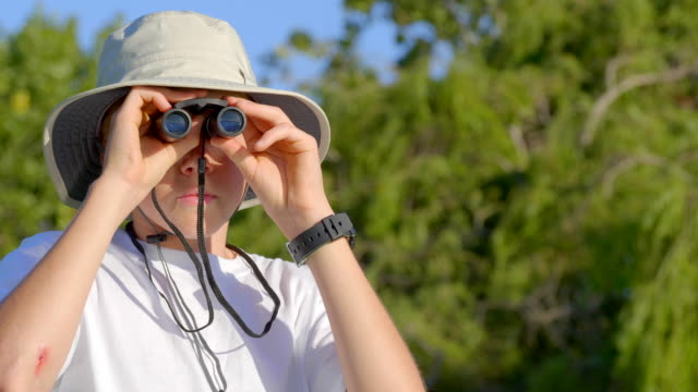boy 12 years old is looking through binooculars in the park. - scout association stock videos & royalty-free footage