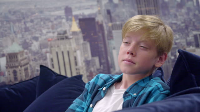 Boy 12 years old is sitting on the sofa. New York on the background.