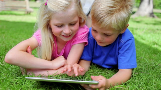 brother and sister using a tablet pc together while lying in the grass before smiling at the camera - sister stock videos & royalty-free footage