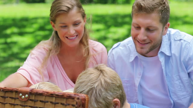two children reach into a picnic basket while sitting in the grass with their parents - picnic basket stock videos and b-roll footage