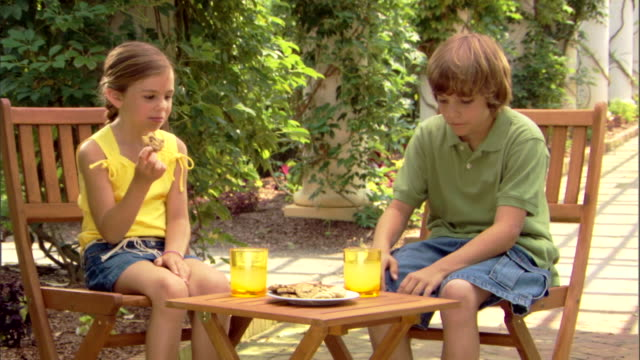 a boy and girl drink lemonade and eat cookies at a small table outside. - traditional lemonade stock videos & royalty-free footage