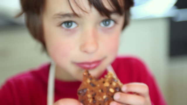 cu pan focusing boy (8-9) and girl (6-7) eating fresh baked cookies, yarmouth, maine, usa - クッキー点の映像素材/bロール