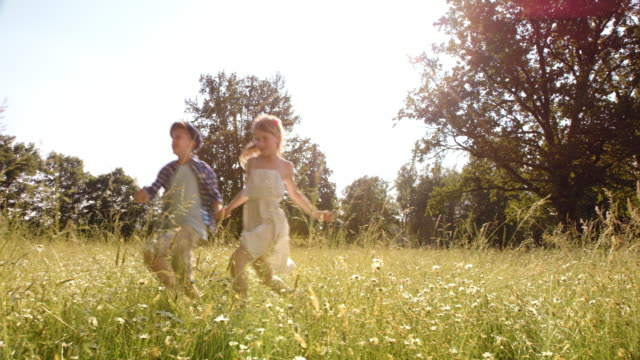 SLO MO Boy and girl holding hands running across meadow