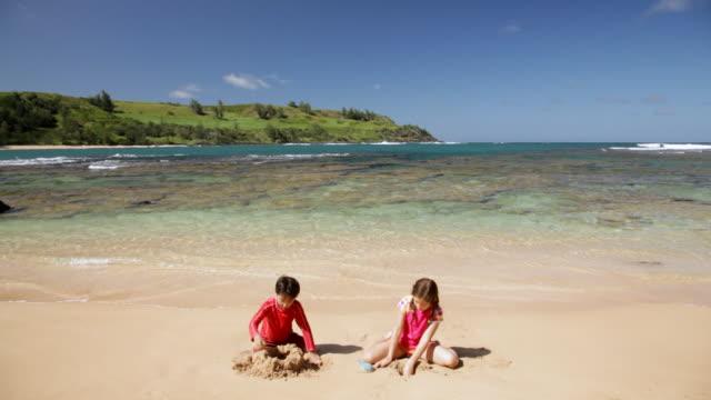 ws tu boy and girl making sand castle on beach on sunny day/ moloaa beach kauai, hawaii, united states - tropical climate stock videos & royalty-free footage