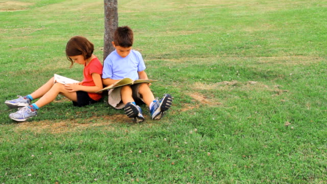 boy and girl read by a tree - reading stock videos & royalty-free footage