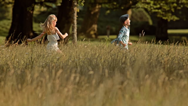 slo mo ts boy and girl running across a meadow - activity stock videos and b-roll footage