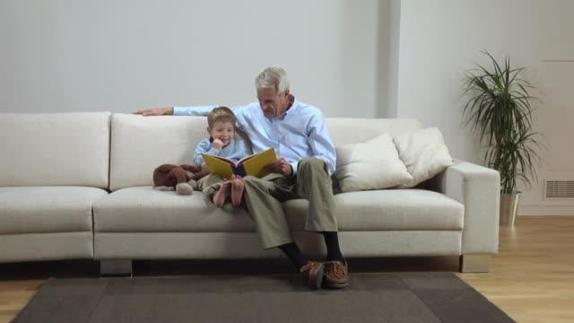 vídeos de stock, filmes e b-roll de ws zi slo mo boy (2-3) and grandfather reading book and playing with monkey toy / london, uk  - animal de brinquedo