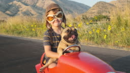 Boy and his Dog in Toy Racing Car