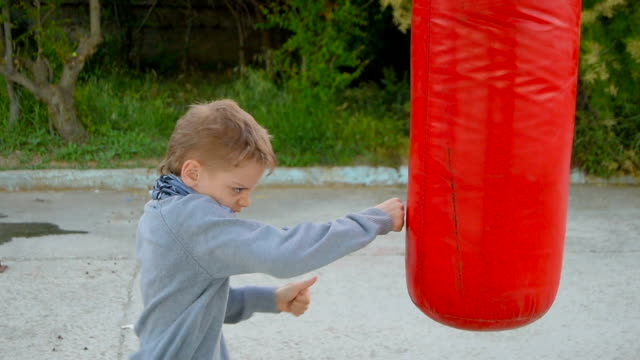 boy and punching bag - bag stock videos & royalty-free footage