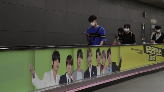 bts boy band advertisement in subway in seoul south korea on friday september 18 2020 - boy band stock videos & royalty-free footage