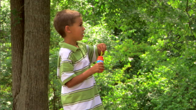 boy blowing bubbles - see other clips from this shoot 1428 stock videos & royalty-free footage