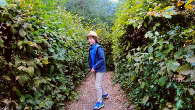vídeos de stock e filmes b-roll de a boy changing his mind about which way to go through a hedge maze - de corpo inteiro