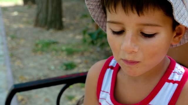 boy chews cake - indulgence stock videos and b-roll footage