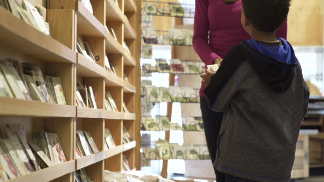 boy choosing seeds with his mother - whidbey island shop stock videos and b-roll footage