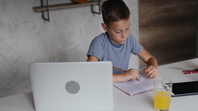 boy doing his homework - educazione online video stock e b–roll