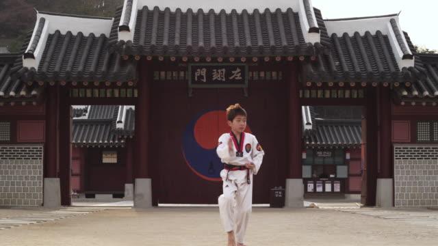 WS Boy doing taekwondo / Kyungkido, Bucheon, South Korea