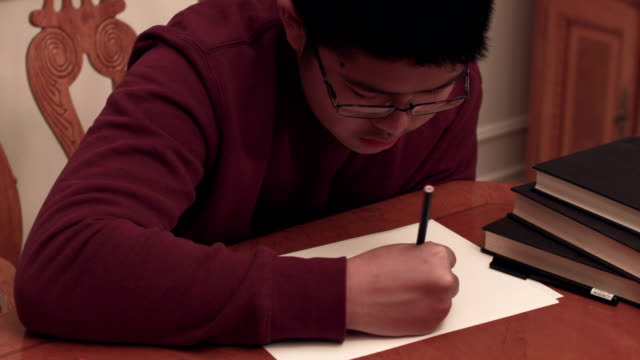 boy drawing art at home for school - one teenage boy only stock videos & royalty-free footage