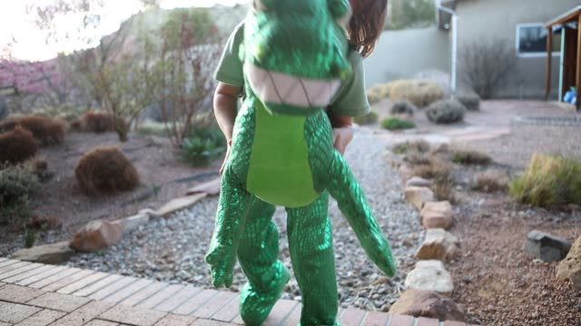 boy dressed in dinosaur outfit - spielzeug stock-videos und b-roll-filmmaterial