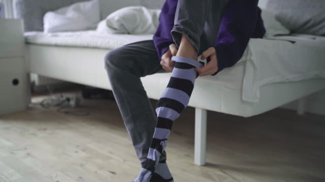 boy dressing up - sock stock videos & royalty-free footage