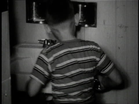 1950 Bw Boy Drinking Out Of Water Fountain Attached To Bathroom Sink