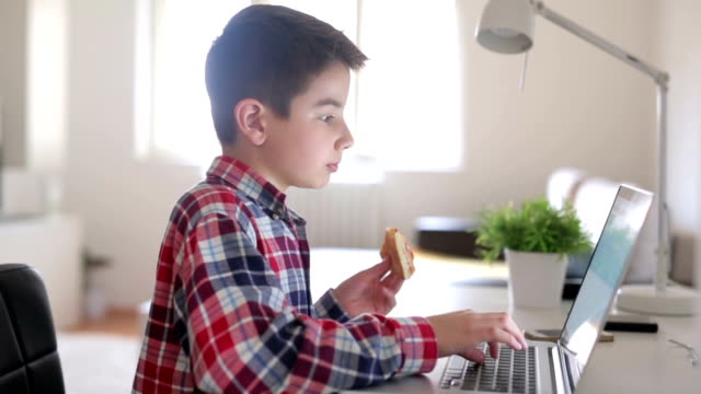 Boy eating and working on a lap top