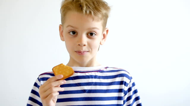 boy eating cookies, close-up - scontornabile video stock e b–roll