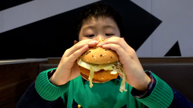 boy eating hamburger indoors - chewing stock videos & royalty-free footage