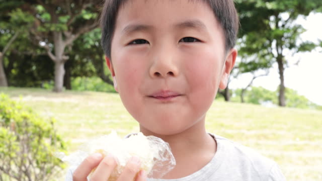 boy eating rice ball in the park - rice ball stock videos & royalty-free footage