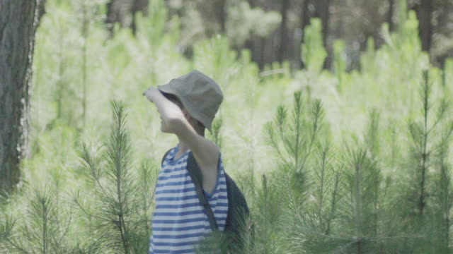 boy exploring in woods with binoculars - 手をかざす点の映像素材/bロール