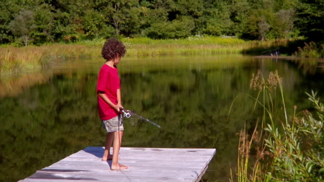 ms, boy (8-9) fishing from lake pier, bovina, new york state, usa - nur jungen stock-videos und b-roll-filmmaterial