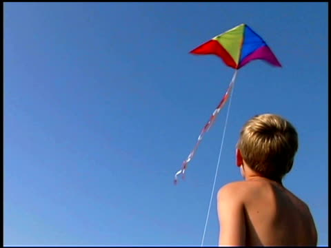 boy flying kite at beach - one boy only stock videos and b-roll footage