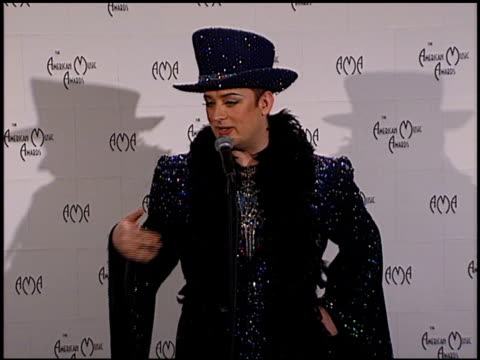 Boy George at the 1999 American Music Awards press room at the Shrine Auditorium in Los Angeles California on January 11 1999
