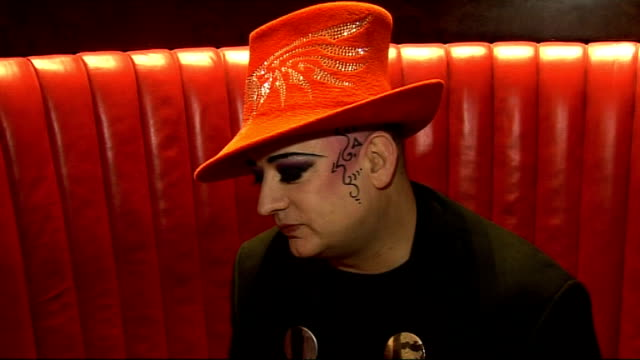 boy george interview.; boy george interview continued sot - on tabloids referring to shadow chancellor george osborne as 'boy george' - he's a labour... - george osborne stock videos & royalty-free footage