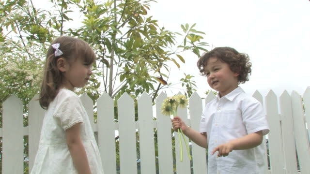 vídeos y material grabado en eventos de stock de boy giving flowers to girl - giving