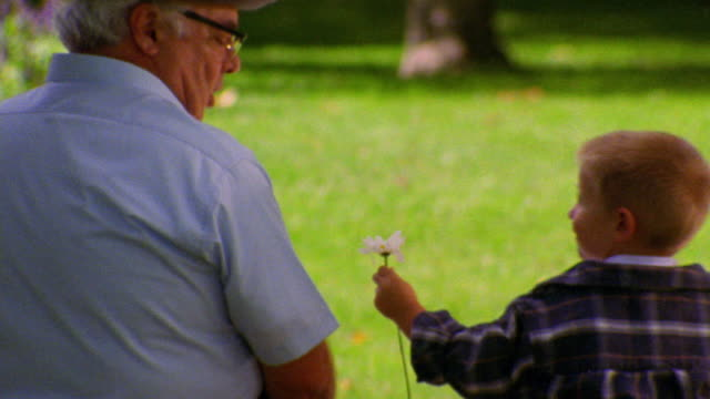 REAR VIEW MS boy giving white flower to senior man outdoors