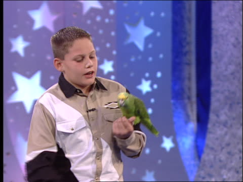a boy holds a parrot in his hands and talks to it. - parrot stock videos & royalty-free footage