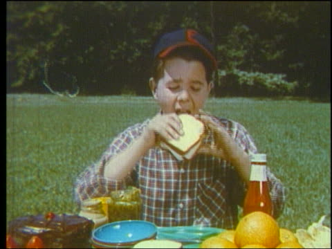 1960 boy in baseball cap eating sandwich at picnic table - baseball cap stock videos & royalty-free footage