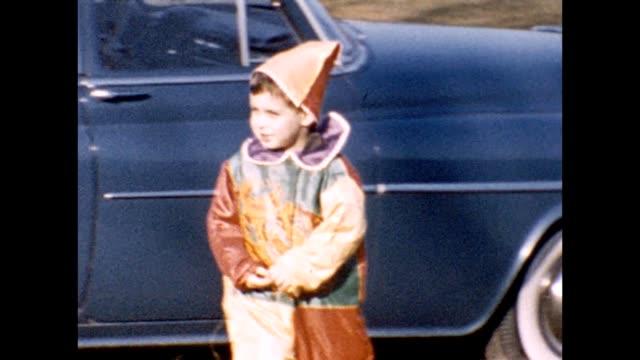 1957 boy in clown costume - clown stock videos & royalty-free footage