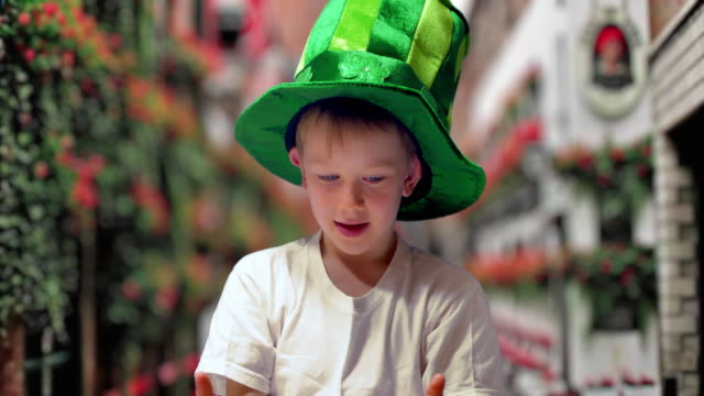 boy in green irish hat on st's patrick day - pub stock videos & royalty-free footage