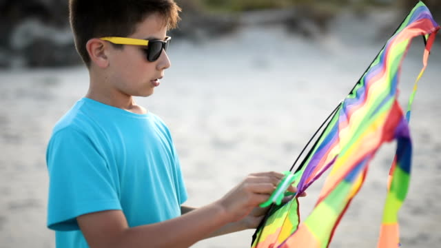 boy is preparing a dragon for flying on the beach - kite toy stock videos and b-roll footage