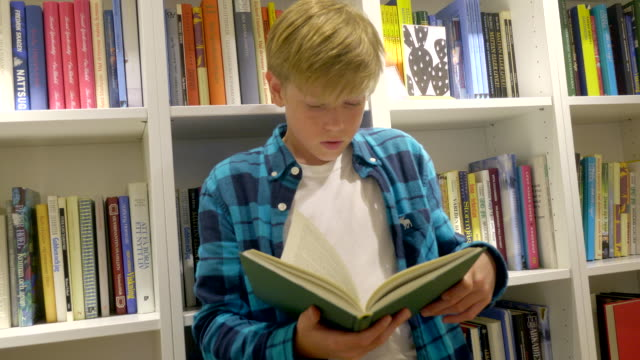 boy is reading a book. bookshelf on the background. - storytelling stock videos and b-roll footage