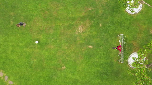 boy is scoring a goal in garden, aerial view - sporting term stock videos & royalty-free footage
