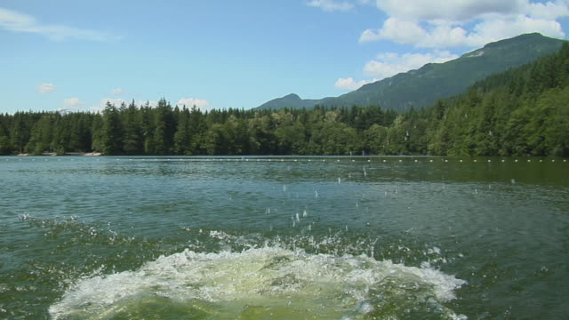 WS SLO MO Boy (8-9) jumping into Alice lake, forest in background / Squamish, British Columbia, Canada