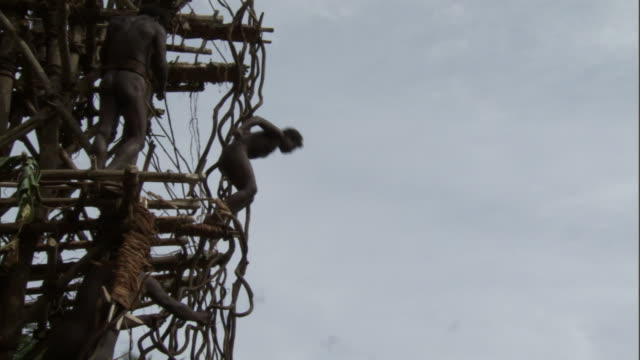 Boy jumps off wooden tower during land diving ritual, Pentecost, Vanuatu