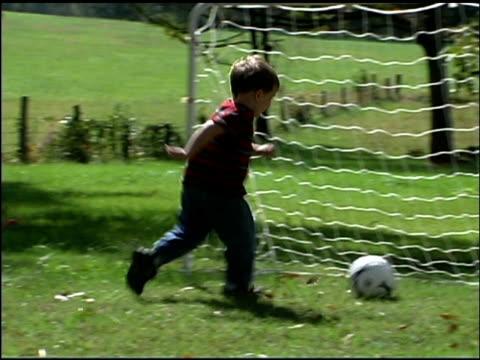 boy kicking soccer goal - boys stock videos & royalty-free footage