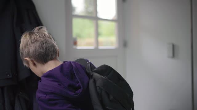 boy leaving home - schoolboy stock videos & royalty-free footage