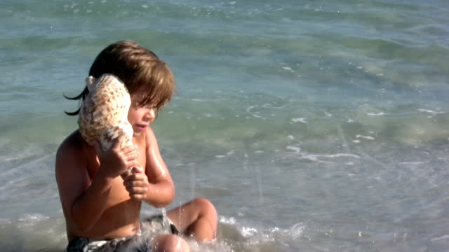 boy listening to the seashell - seashell stock videos & royalty-free footage